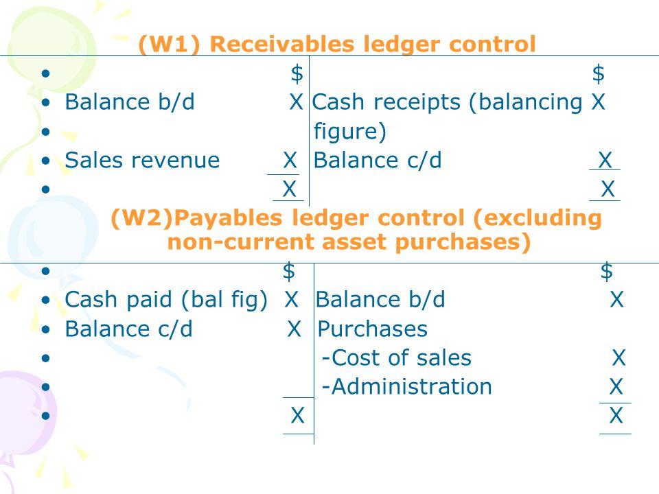 (W1) Receivables ledger control