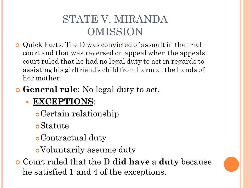 STATE V. MIRANDA OMISSION