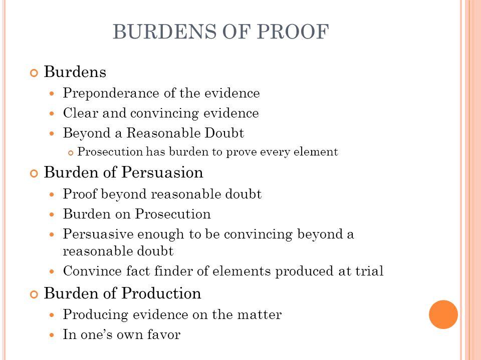 BURDENS OF PROOF Burdens Burden of Persuasion Burden of Production
