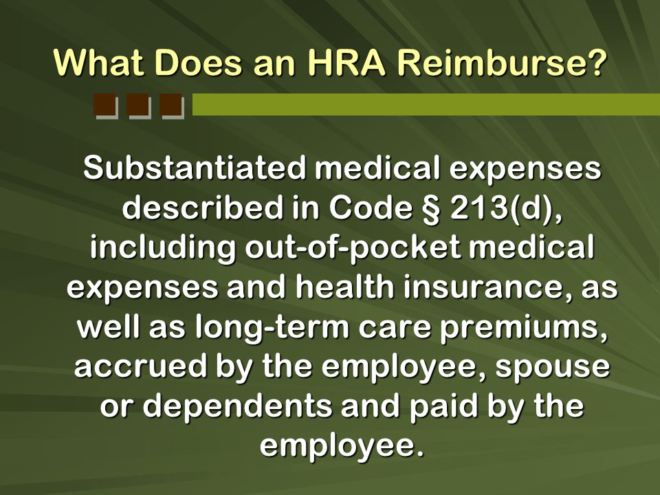 What Does an HRA Reimburse