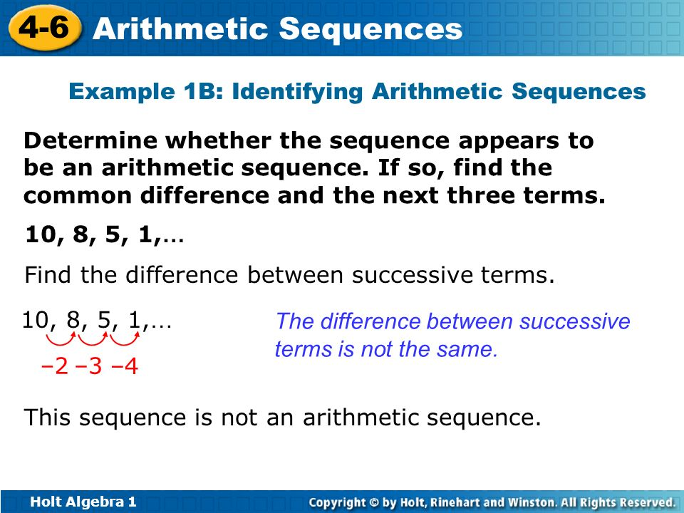 Example 1B: Identifying Arithmetic Sequences