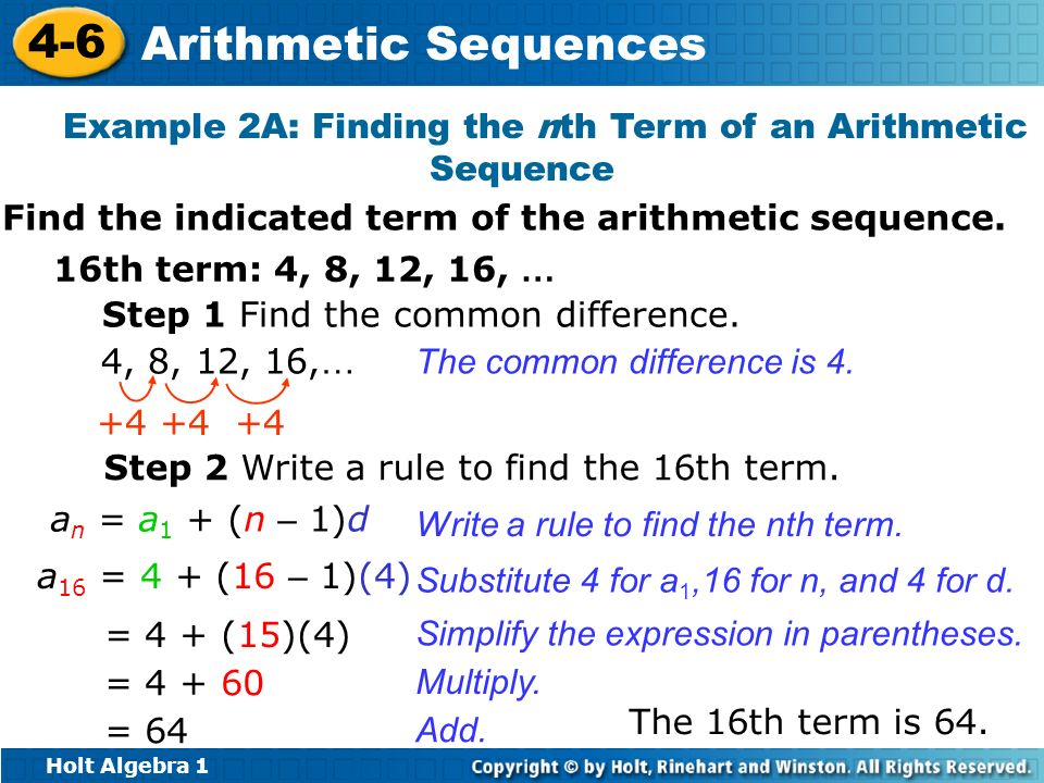 Example 2A: Finding the nth Term of an Arithmetic Sequence