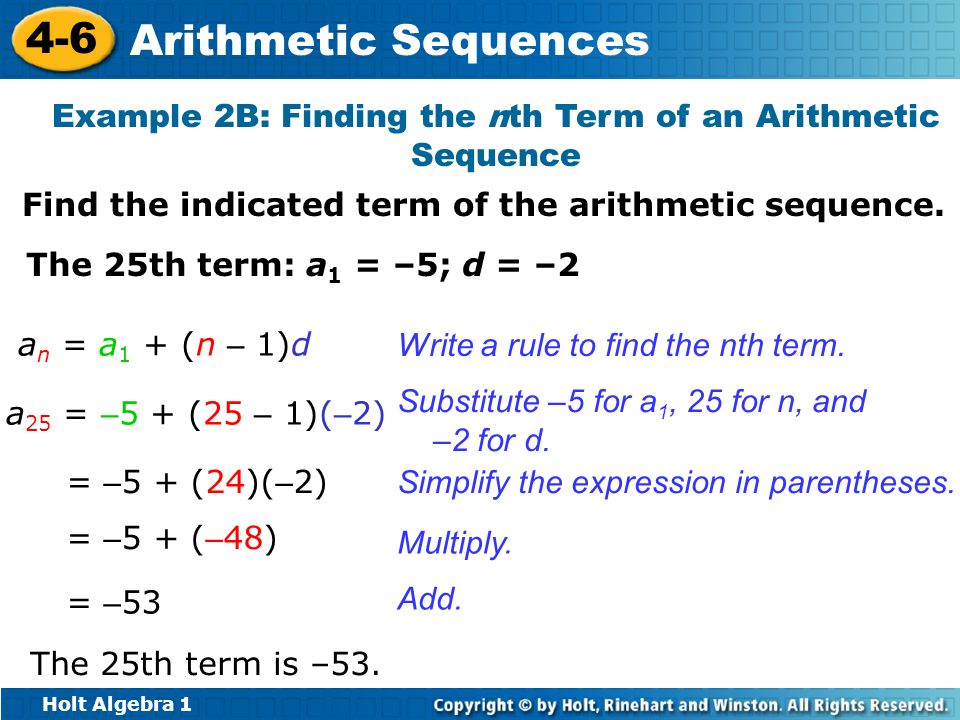 Example 2B: Finding the nth Term of an Arithmetic Sequence