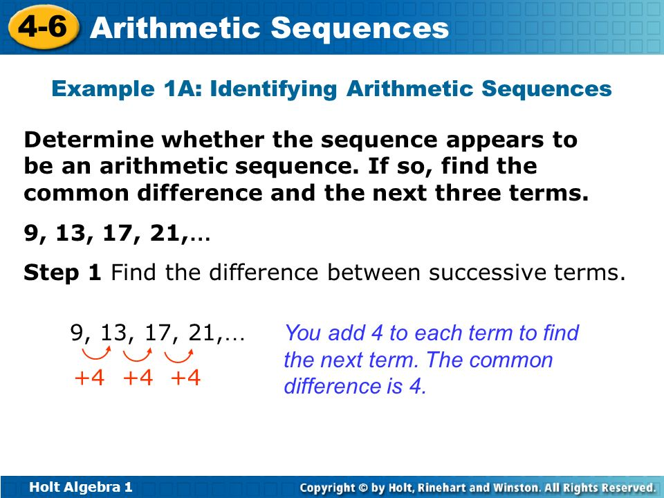 Example 1A: Identifying Arithmetic Sequences