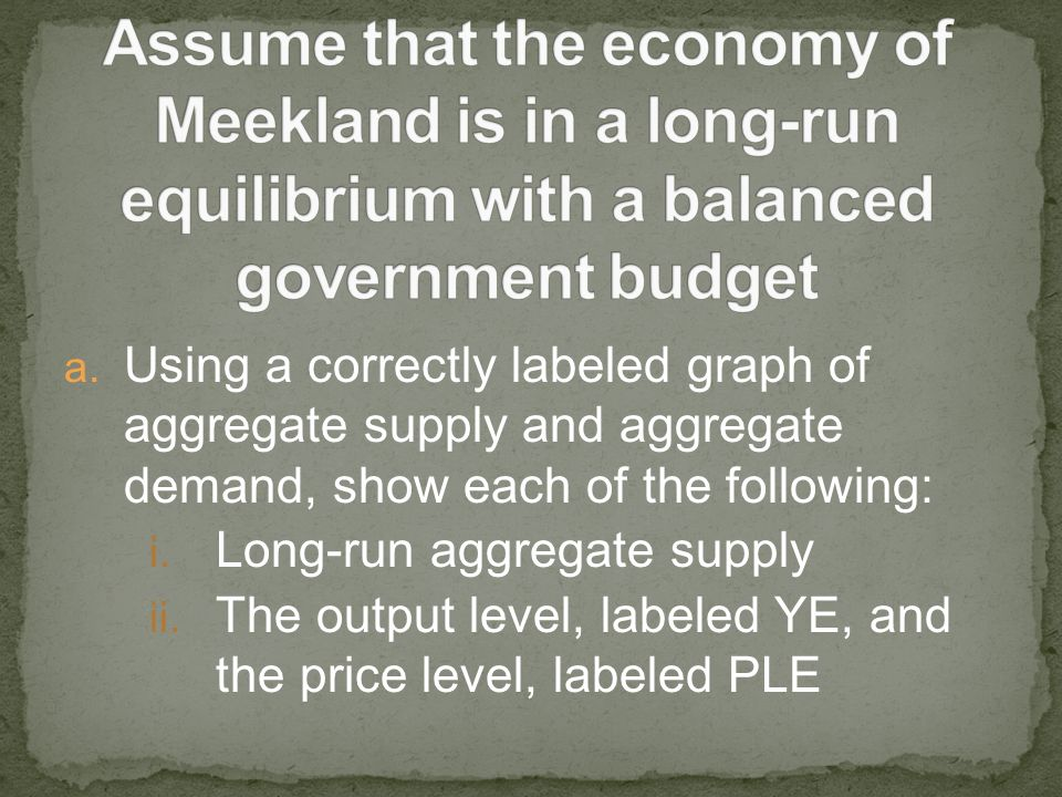 Assume that the economy of Meekland is in a long-run equilibrium with a balanced government budget