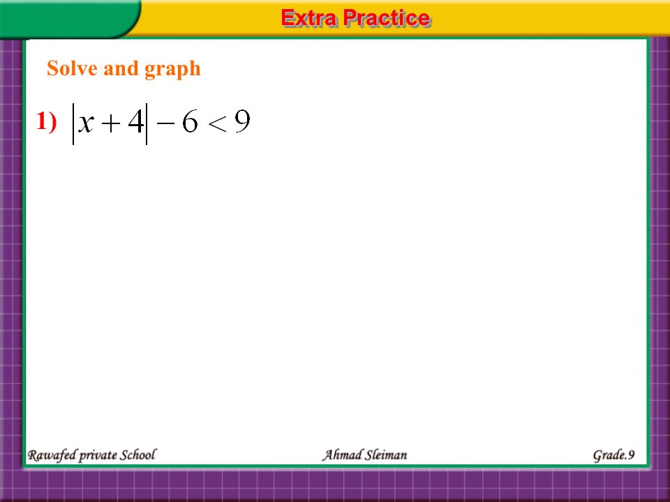 Extra Practice Solve and graph 1)