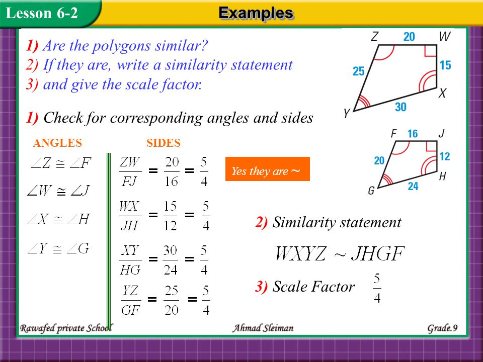 1) Are the polygons similar