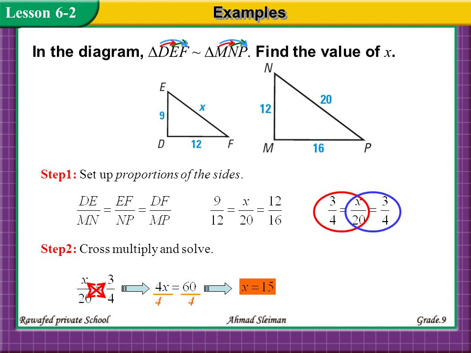 In the diagram, ∆DEF ~ ∆MNP. Find the value of x.