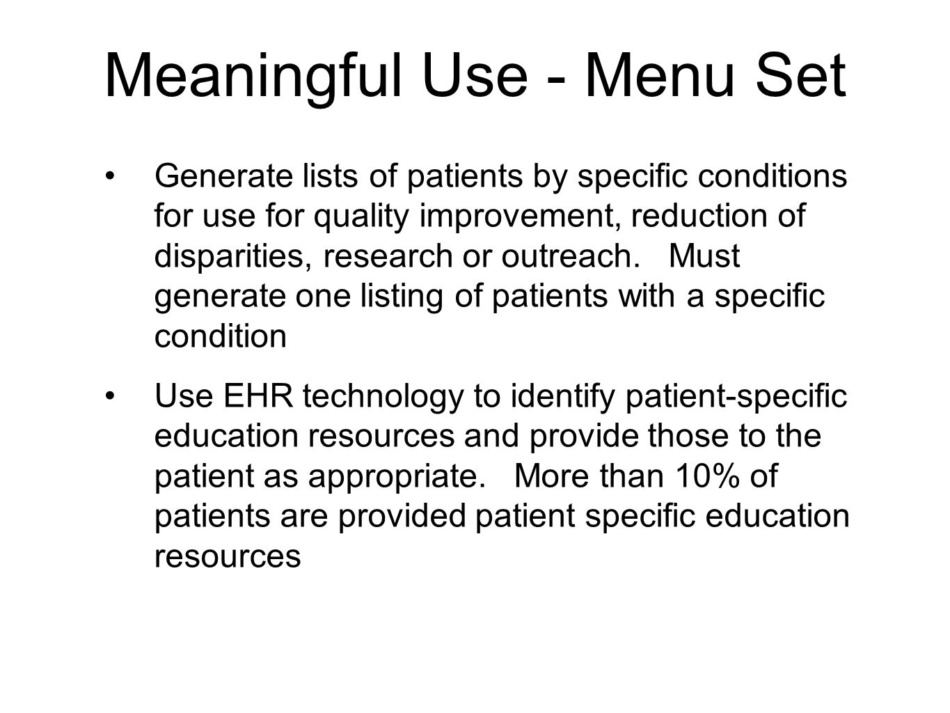 Meaningful Use - Menu Set