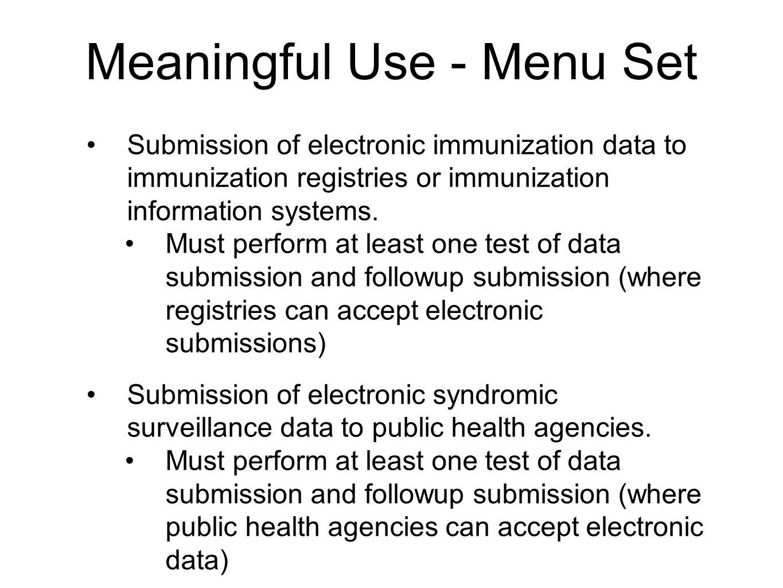 Meaningful Use - Menu Set