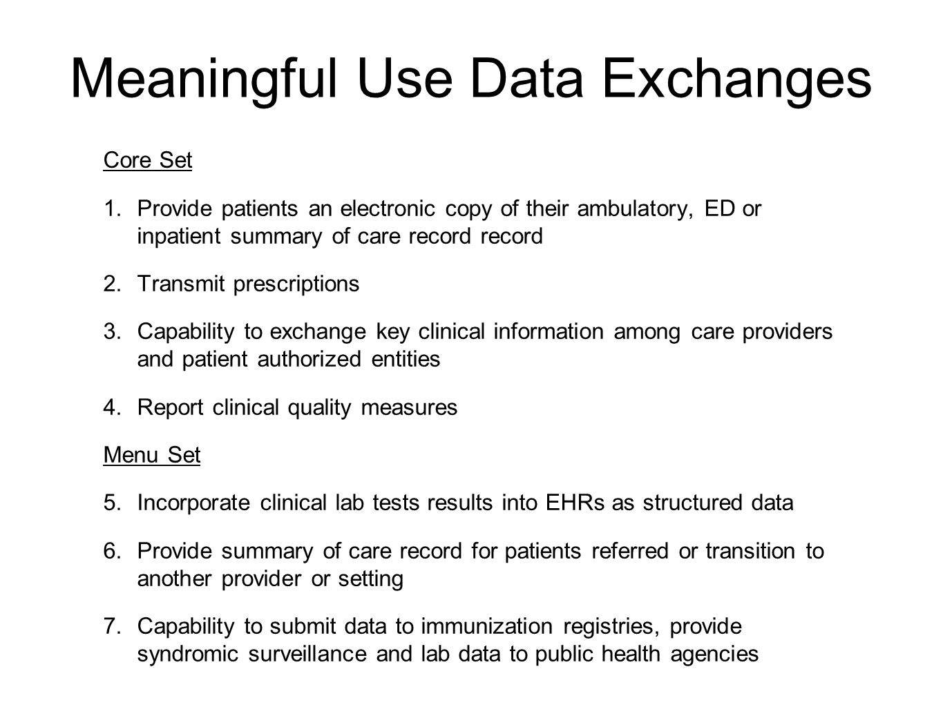 Meaningful Use Data Exchanges