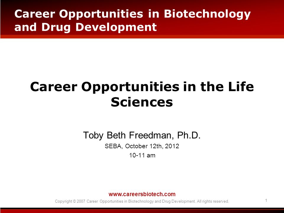 Career Opportunities in the Life Sciences