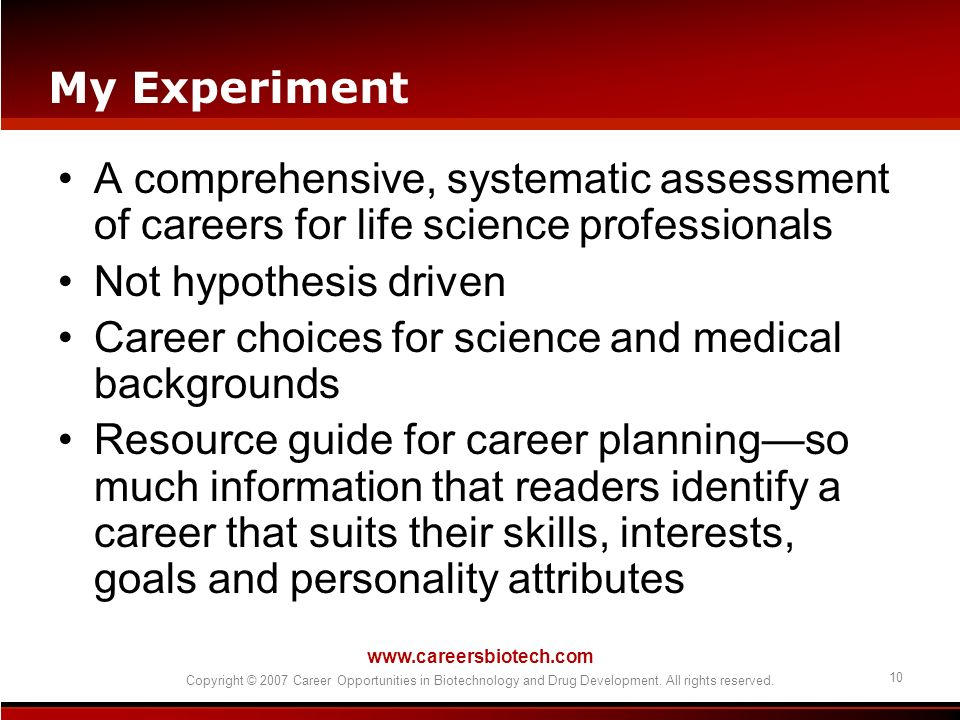 Career choices for science and medical backgrounds