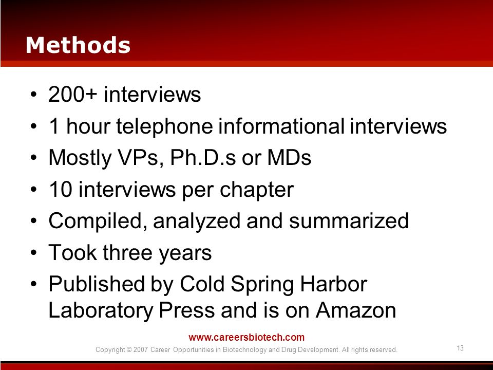 1 hour telephone informational interviews Mostly VPs, Ph.D.s or MDs