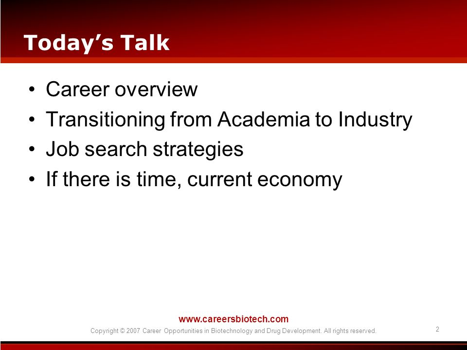 Transitioning from Academia to Industry Job search strategies