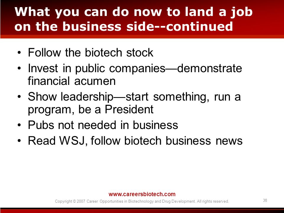 What you can do now to land a job on the business side--continued