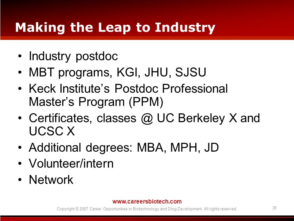 Making the Leap to Industry