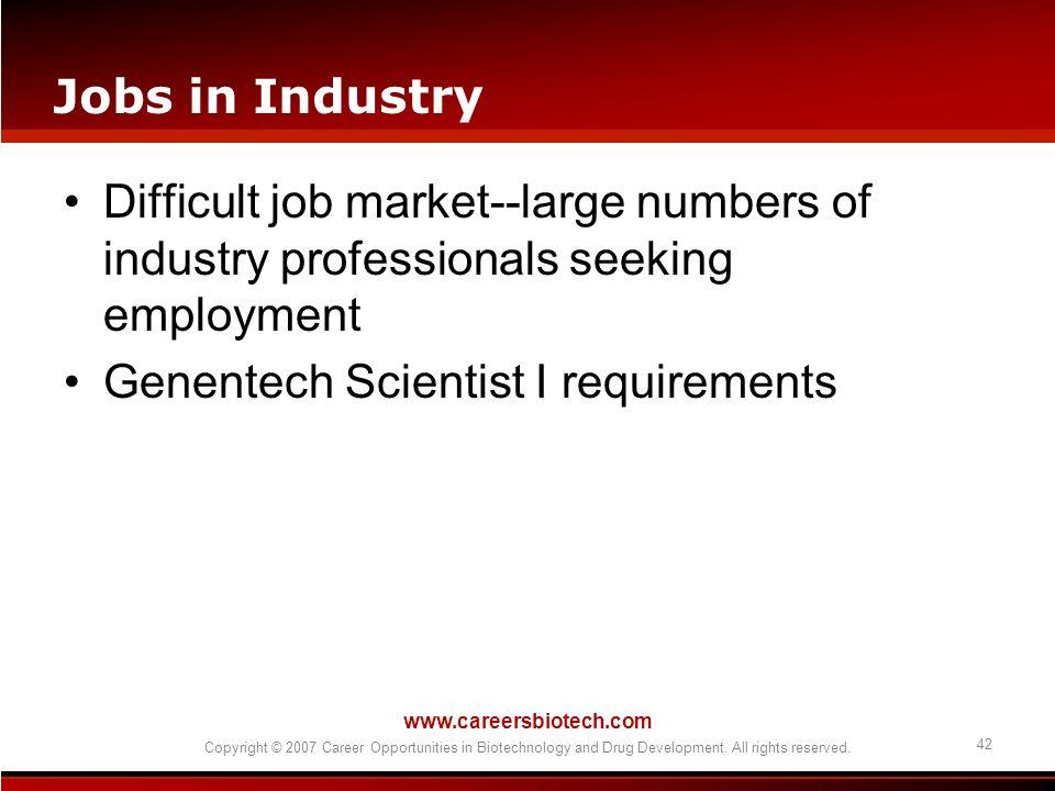 Genentech Scientist I requirements