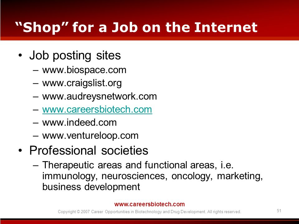 Shop for a Job on the Internet