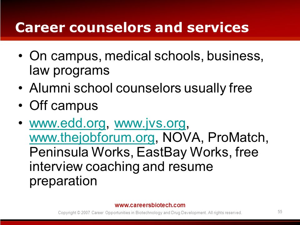 Career counselors and services