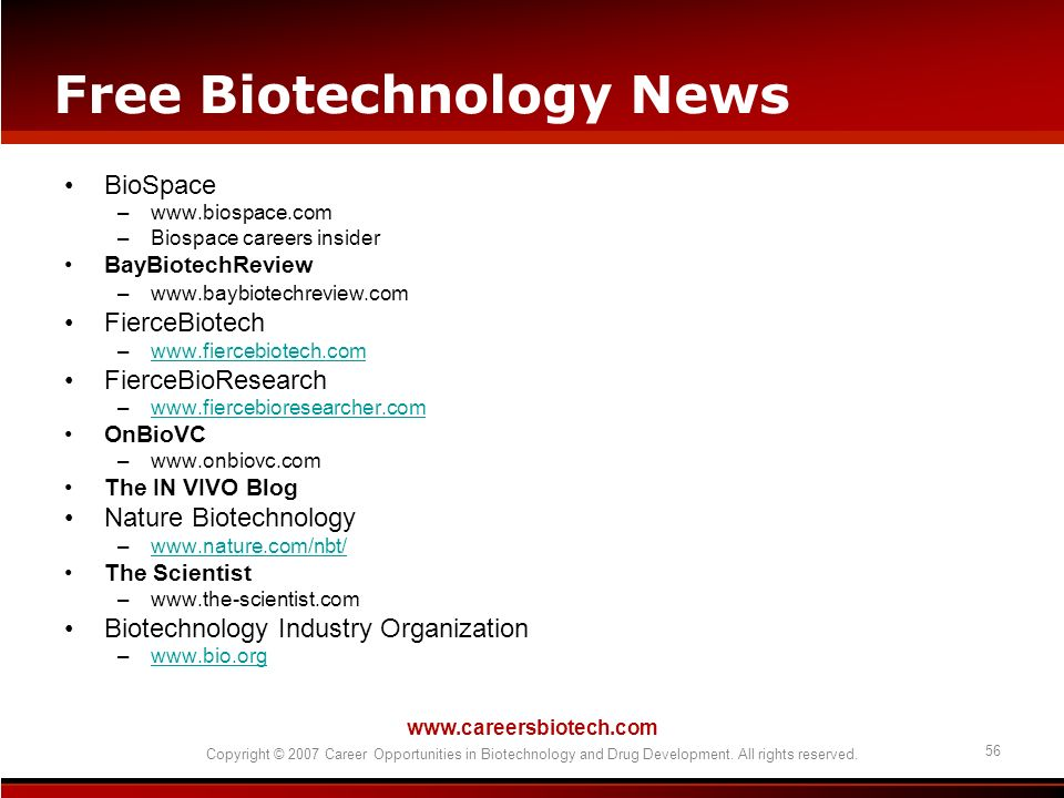 Free Biotechnology News