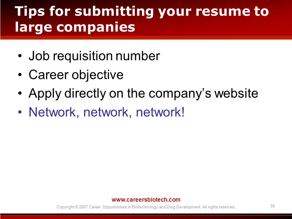 Tips for submitting your resume to large companies