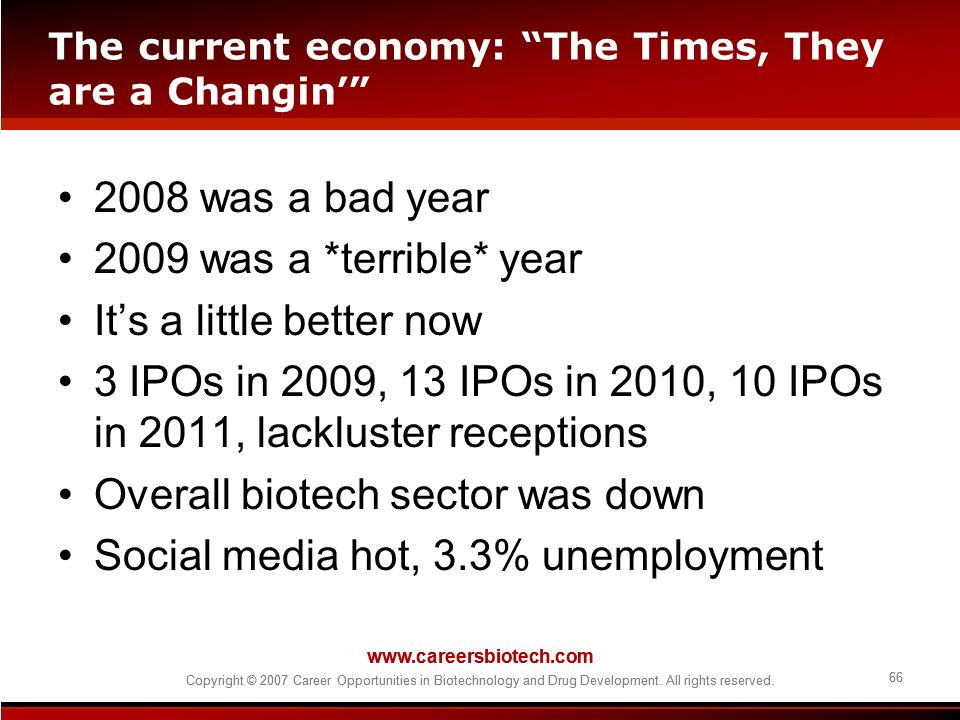 The current economy: The Times, They are a Changin'