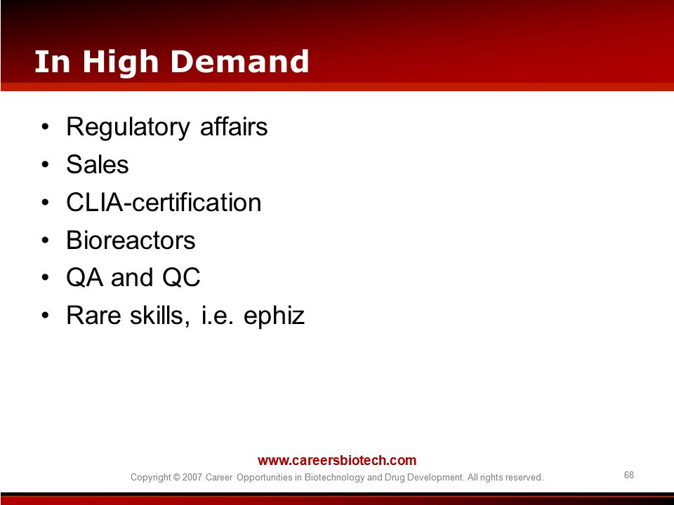 In High Demand Regulatory affairs Sales CLIA-certification Bioreactors