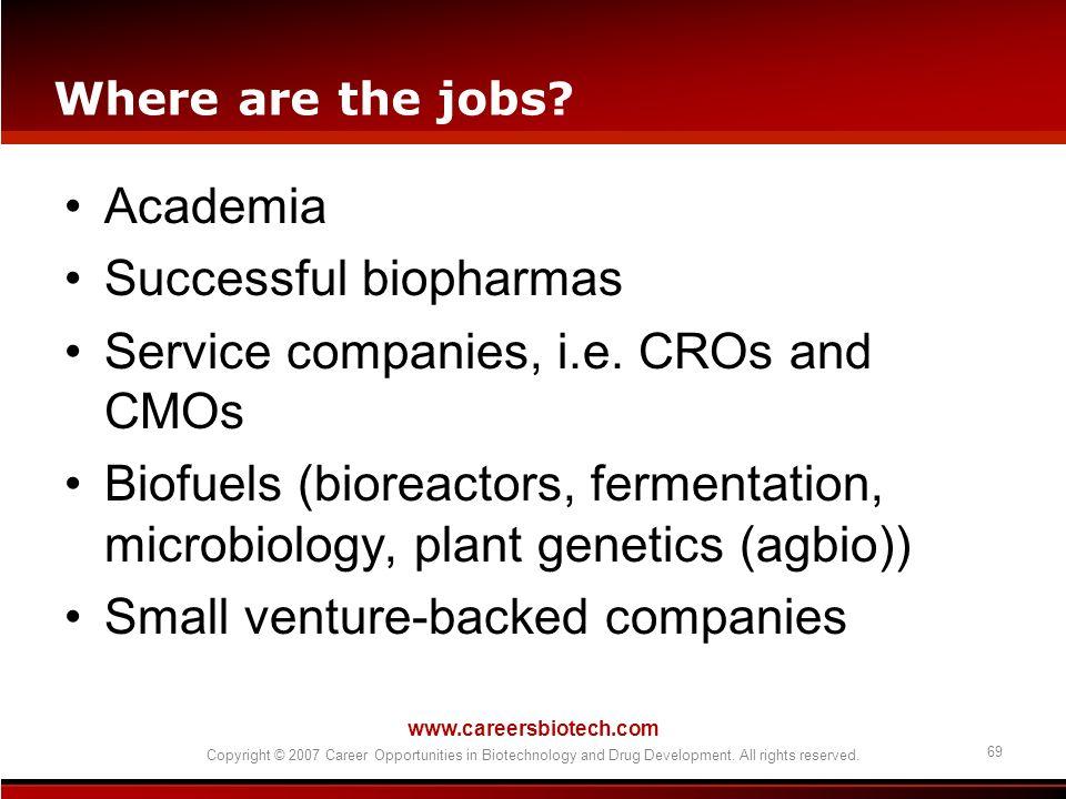 Successful biopharmas Service companies, i.e. CROs and CMOs