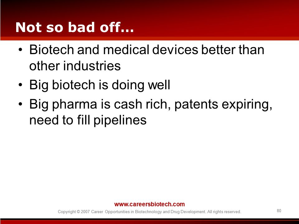 Biotech and medical devices better than other industries