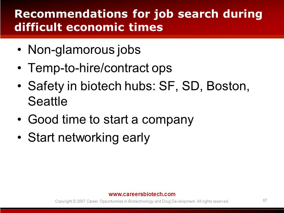 Recommendations for job search during difficult economic times
