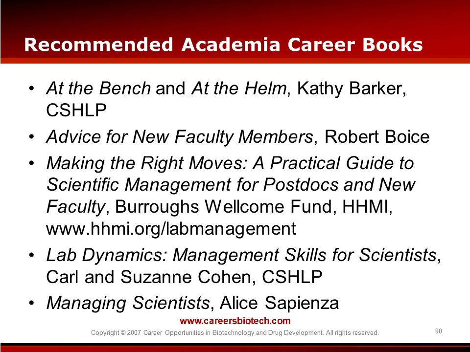 Recommended Academia Career Books