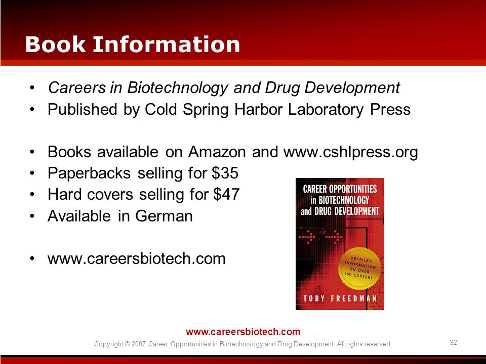 Book Information Careers in Biotechnology and Drug Development