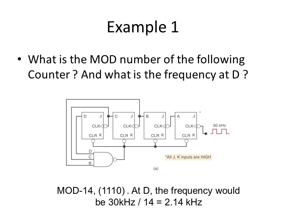 MOD-14, (1110) . At D, the frequency would be 30kHz / 14 = 2.14 kHz