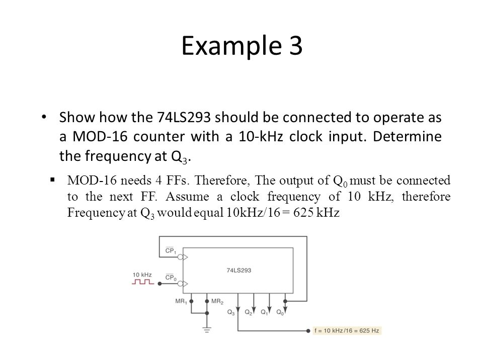 Example 3 Show how the 74LS293 should be connected to operate as a MOD-16 counter with a 10-kHz clock input. Determine the frequency at Q3.