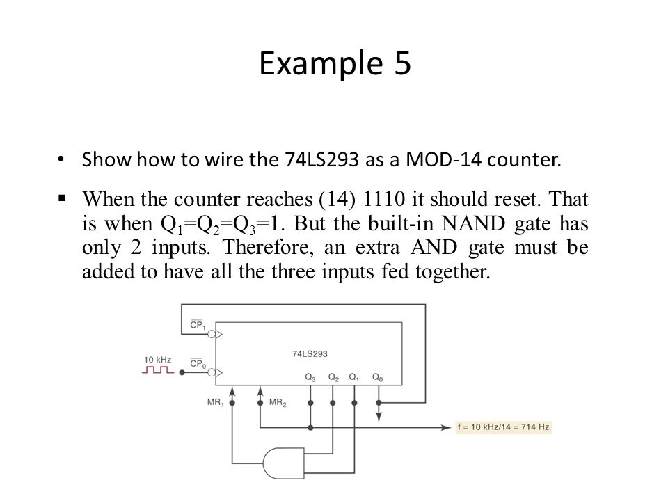 Example 5 Show how to wire the 74LS293 as a MOD-14 counter.