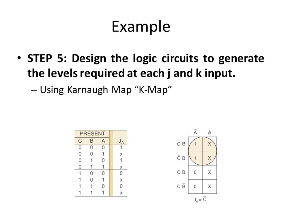Example STEP 5: Design the logic circuits to generate the levels required at each j and k input.