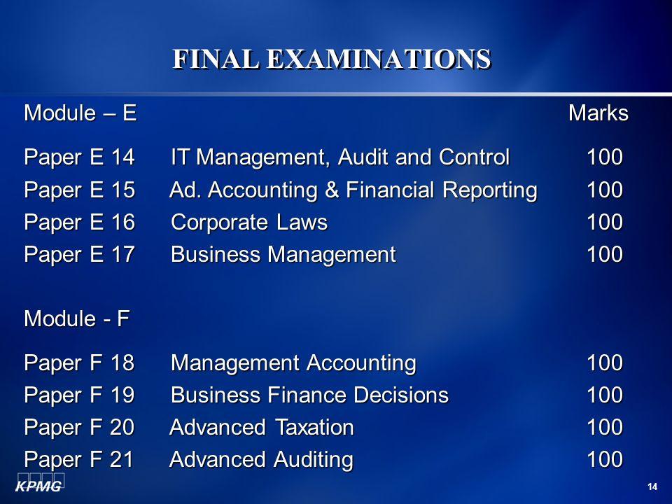 FINAL EXAMINATIONS Module – E Marks