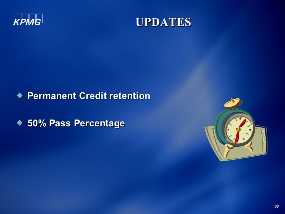 Permanent Credit retention 50% Pass Percentage