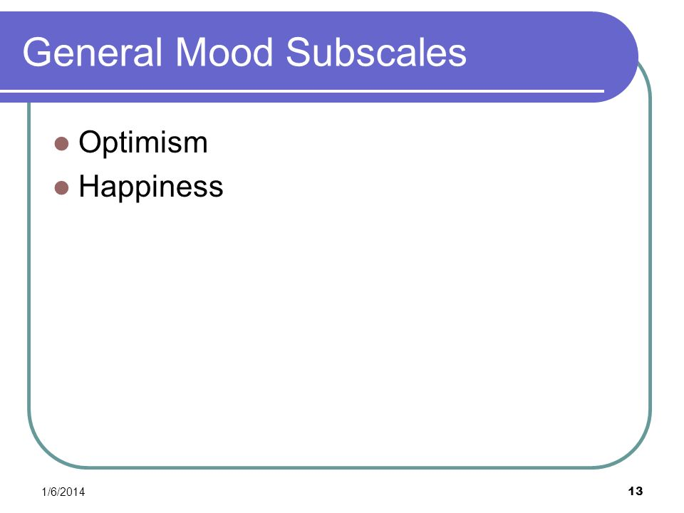General Mood Subscales