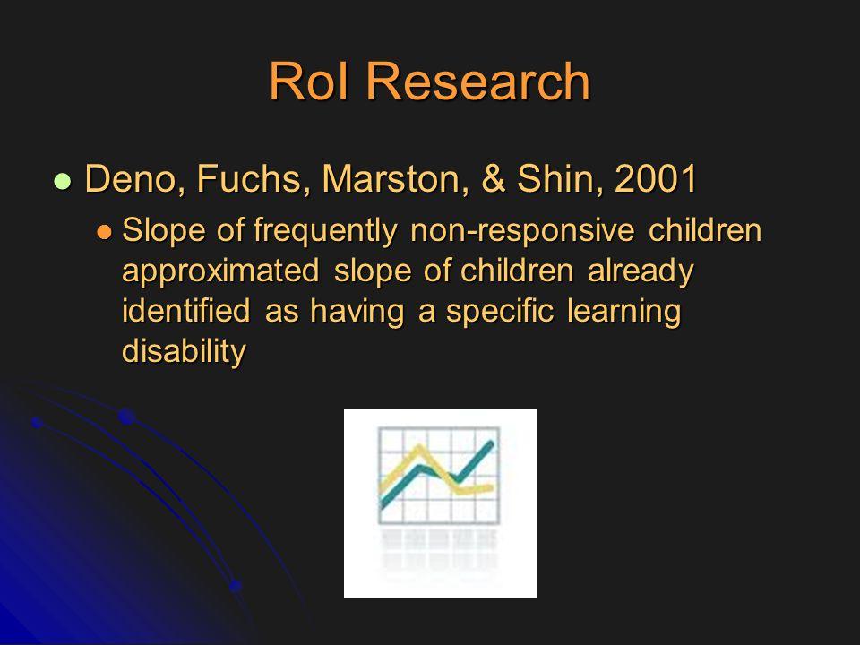 RoI Research Deno, Fuchs, Marston, & Shin, 2001