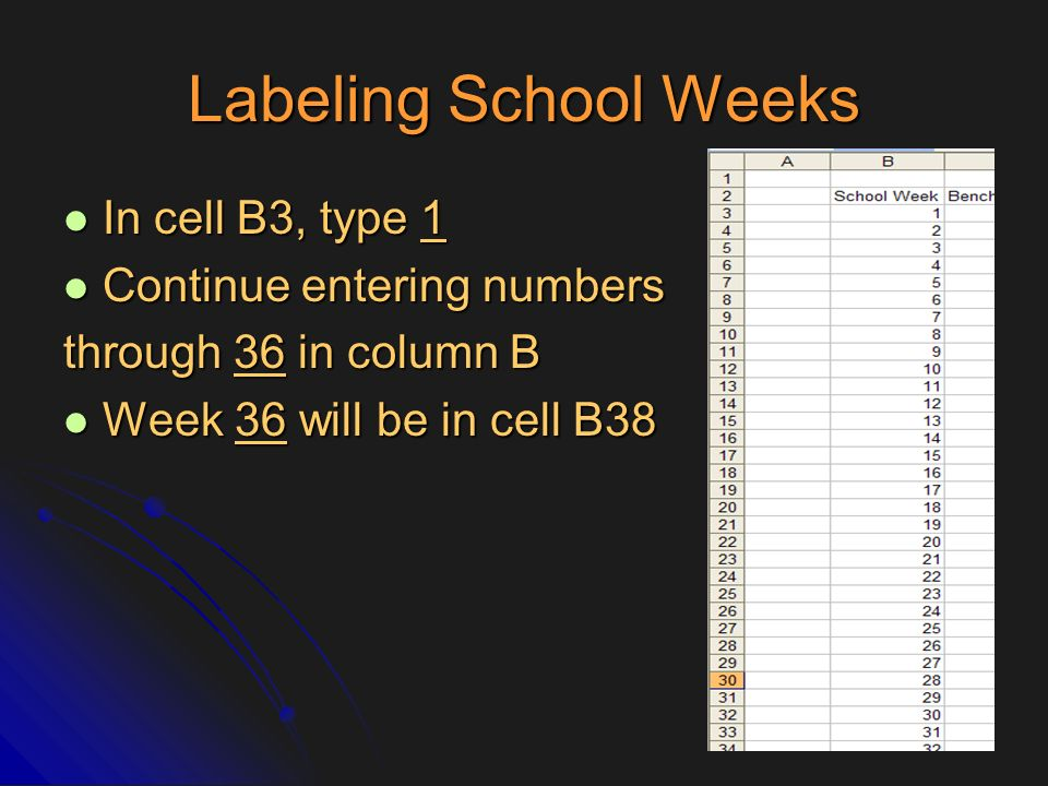 Labeling School Weeks In cell B3, type 1 Continue entering numbers