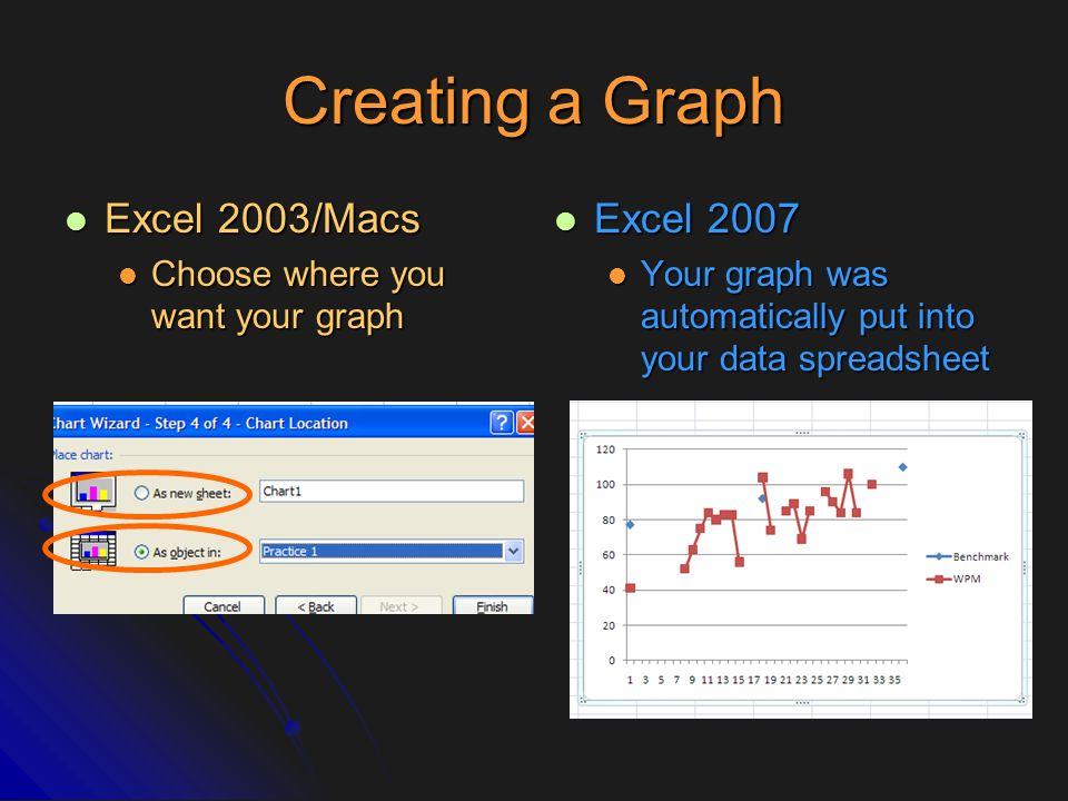Creating a Graph Excel 2003/Macs Excel 2007