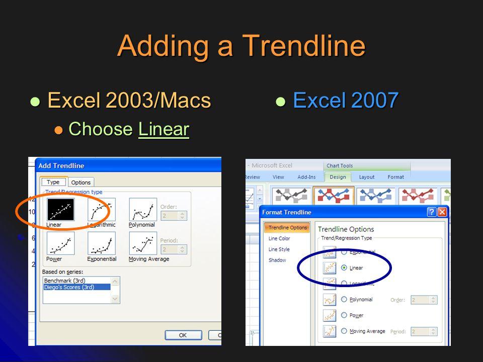 Adding a Trendline Excel 2003/Macs Choose Linear Excel 2007