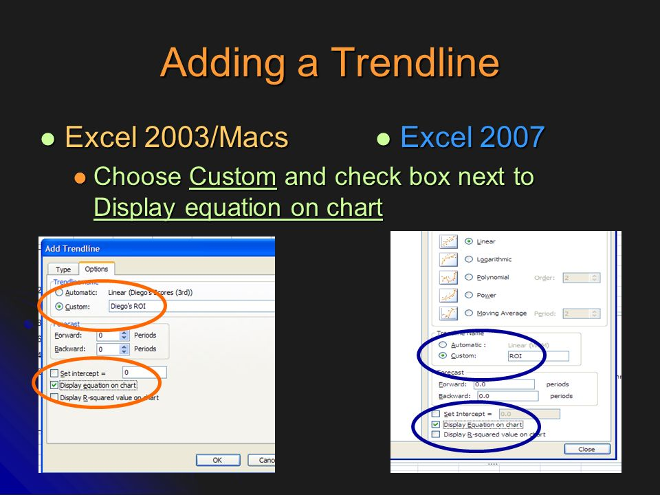 Adding a Trendline Excel 2003/Macs Excel 2007