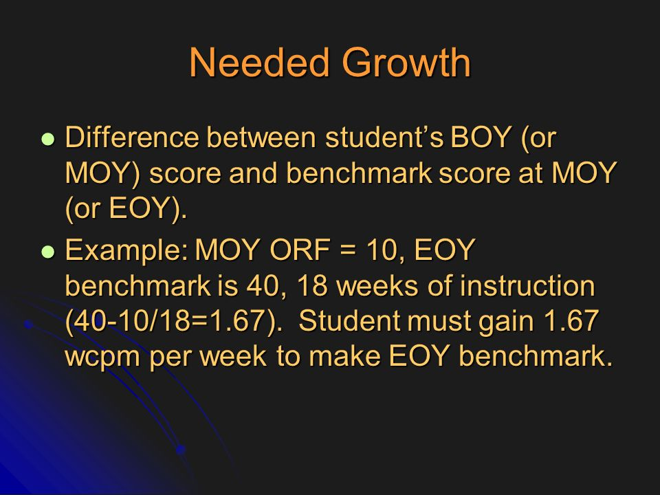 Needed Growth Difference between student's BOY (or MOY) score and benchmark score at MOY (or EOY).
