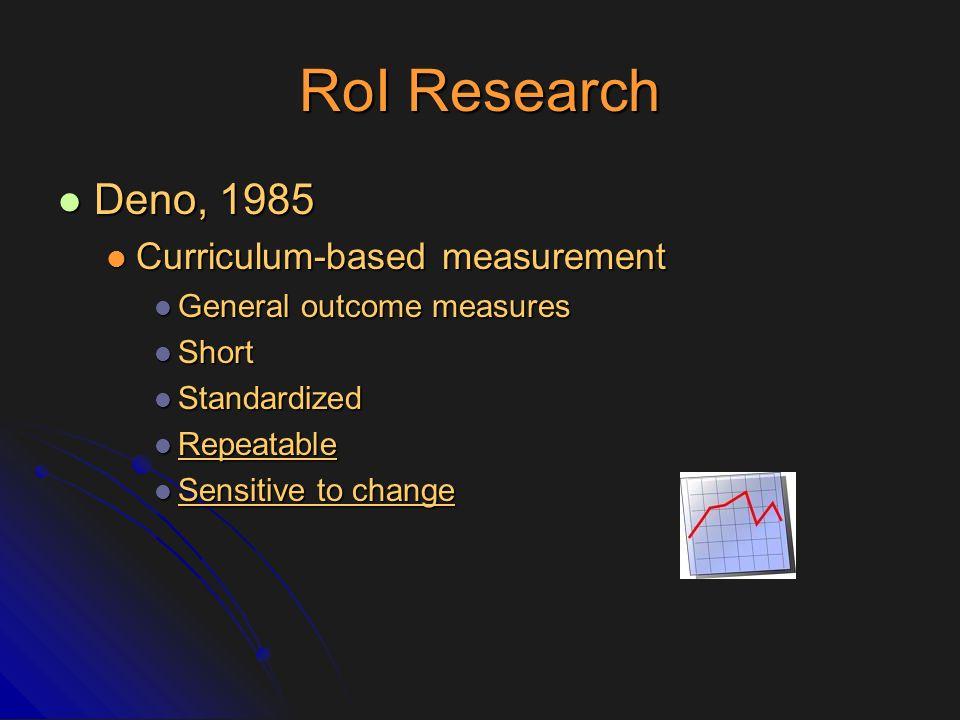 RoI Research Deno, 1985 Curriculum-based measurement