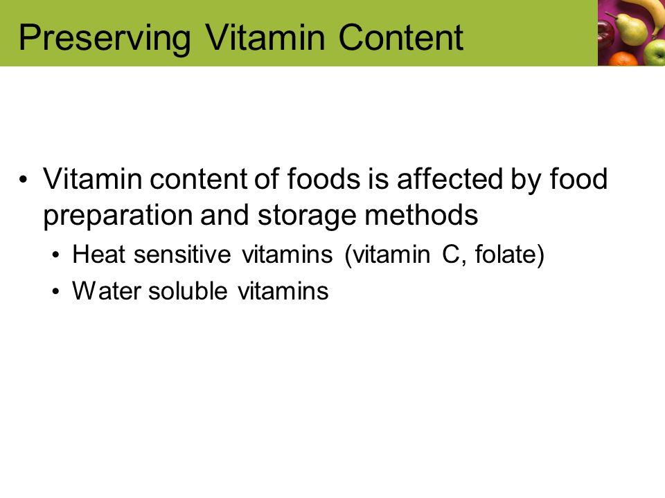Preserving Vitamin Content