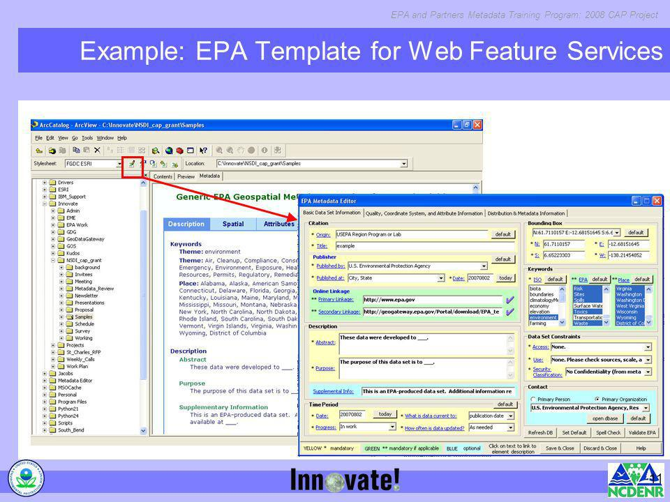 Example: EPA Template for Web Feature Services