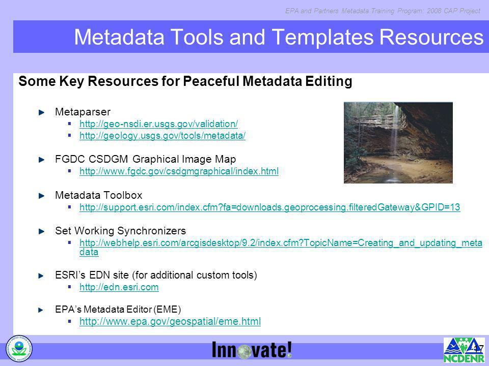 Metadata Tools and Templates Resources